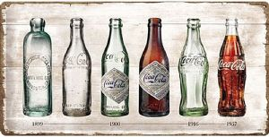 Coca Cola Bottle Evolution large embossed metal sign 500mm x 250mm (na)